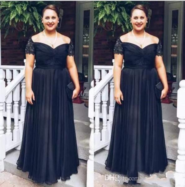 2020 nueva llegada oscuro Armada Off Ths hombro Madre de la novia vestidos de boda formal largo de la gasa del partido de los vestidos vestidos de noche del tamaño extra grande