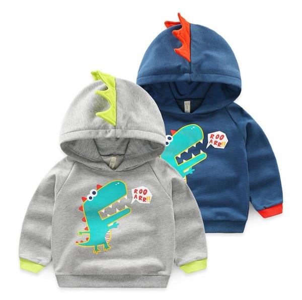 2019 Autumn Winter Girls Jackets Pullover Sweater Cotton Baby Boys Dinosaur Jacket Kids Warm Outerwear Coat Children Clothes