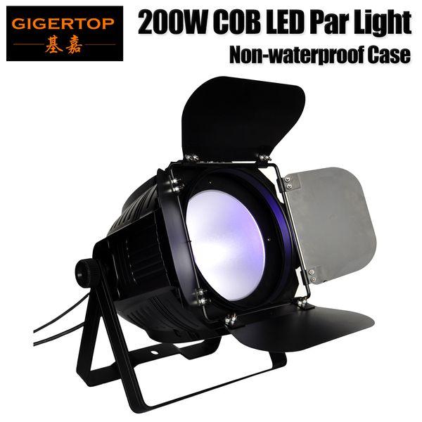 Gigertop TP-P61 200W COB Barndoor Led Par Light Carcasa de aluminio Barndoor Ajustable 3PIN DMX Enchufe de entrada / salida Interior Sin pantalla LCD impermeable