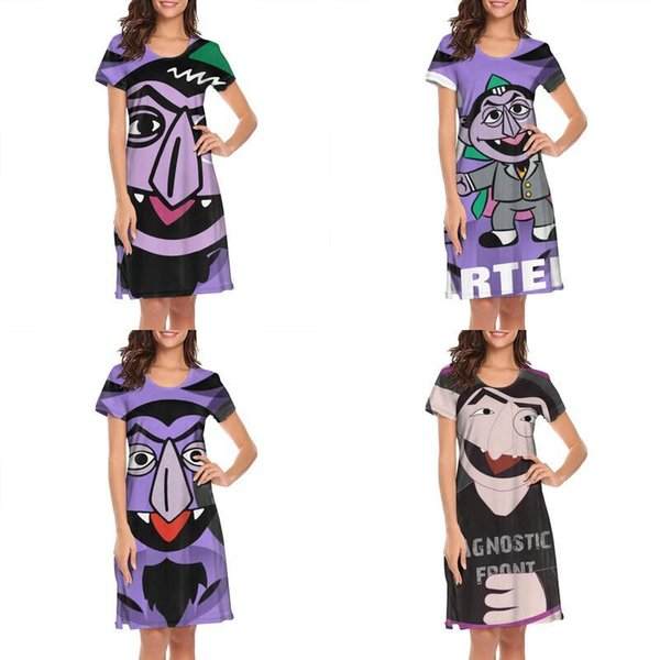 Womens design printing Count von Avatar Sesame Street white nighty gown shirt dress make a friends slogan loungewear fashion biker for