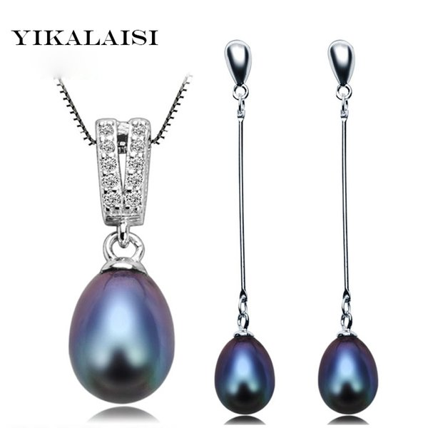 jewelry sets YIKALAISI 925 Sterling Silver Chain Natural Freshwater Pearl Pendant Earrings Fashion Jewelry Set For Women 8-9mm Pearl Black