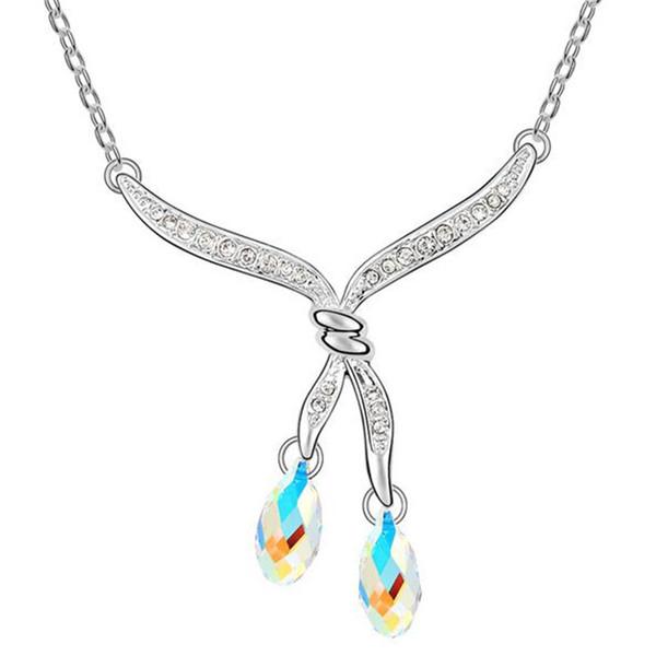 Venta al por mayor Gota de agua collares pendientes para las mujeres de joyería de moda de cristal de Swarovski moda gargantilla collar de cadena corta -6397