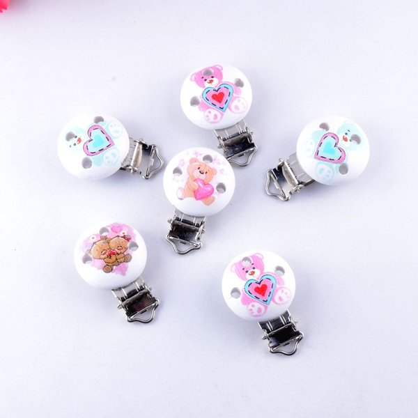 wood clasp 10PCs Baby Pacifier Clips Mixed Pattern Animal White Wood Metal Holders Cute Infant Soother Clasps Funny Accessories 4.4x2.9cm