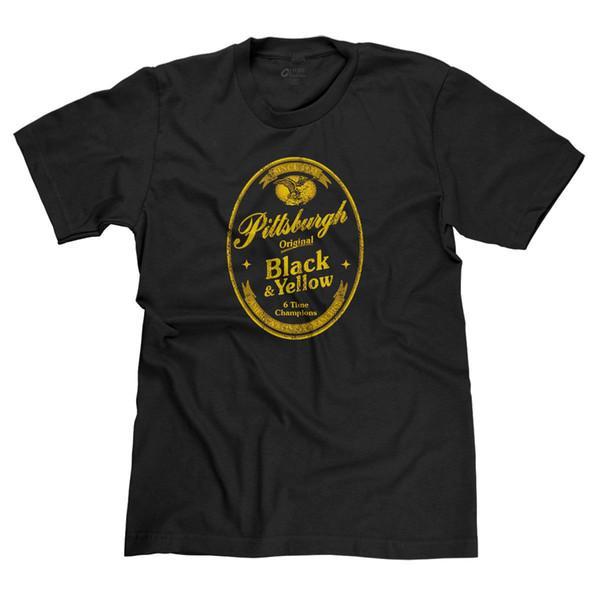 SCHWARZES UND GELBES BIER LABEL PITTSBURGH FAN CHAMPS YUENGLING PARODY T-SHIRT T-SHIRT Lustiges freies Verschiffen Unisex-beiläufiges T-Shirt