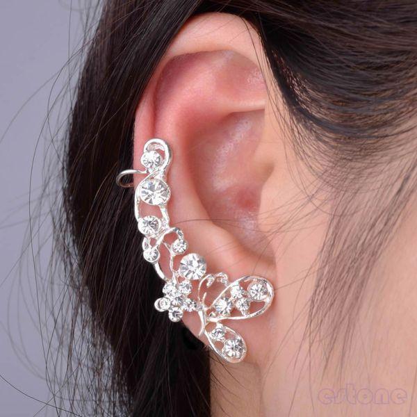 1PC Crystal Rhinestone Butterfly Flower Ear Ear Cuff Ear Clip Stud Earring para las mujeres