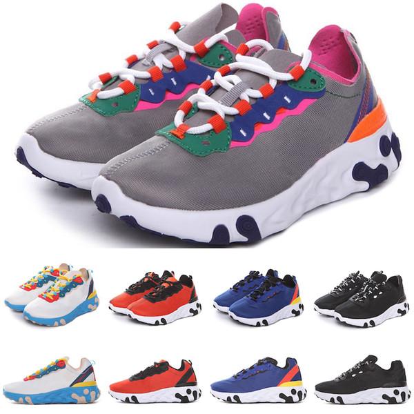Nike Air React Element87 Çocuklar Koşu Ayakkabıları Yüksek Kaliteli Tasarımcı Erkek Kız Çocuk Bebek Siyah Pembe Mavi Beyaz Sneakers Run rainers Ayakkabı