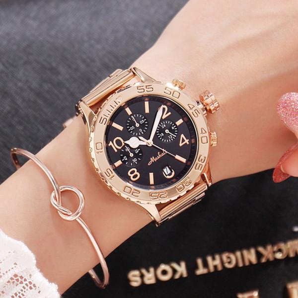 Luxury Fashion Big Dial Ladies Watch Personality Watch Gold Steel Strap Calendar Function Quartz Women's gift for women