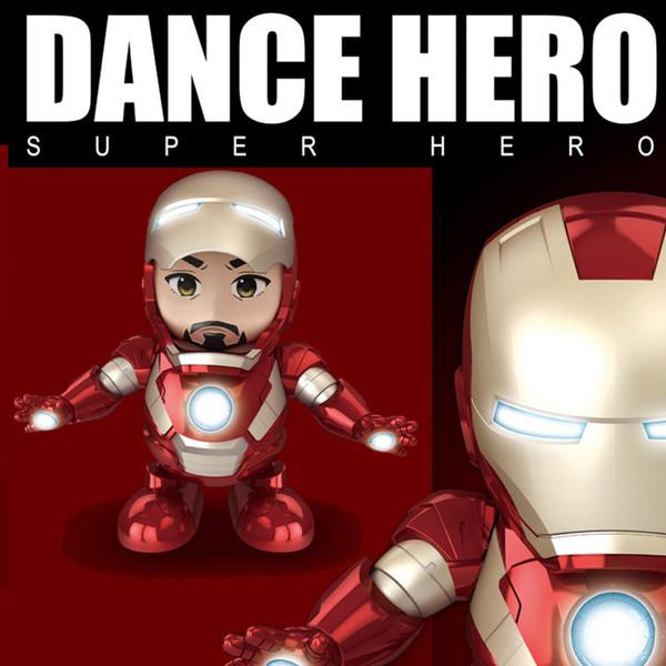 Dance Iron Man Action Figure Toy robot Torcia a LED con Sound Avengers Iron Man Hero Giocattoli elettronici per bambini