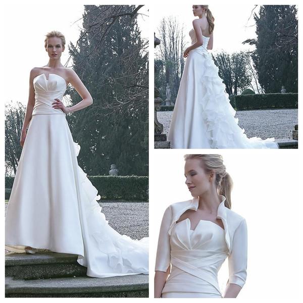 Querida A Linha De Vestidos De Noiva De Organza Trem Vestidos de Noiva Formal Longo Com Metade Mangas Jaqueta de Casamento Do Casamento Formal Wear