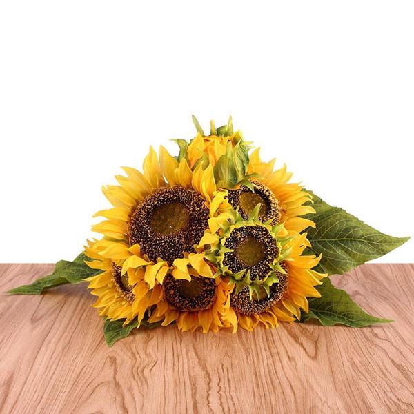 1 Bouquet giallo del girasole della seta fiore decorativo falso 7 Branch Casa Decorazione Accessori artificiali foglie delle piante