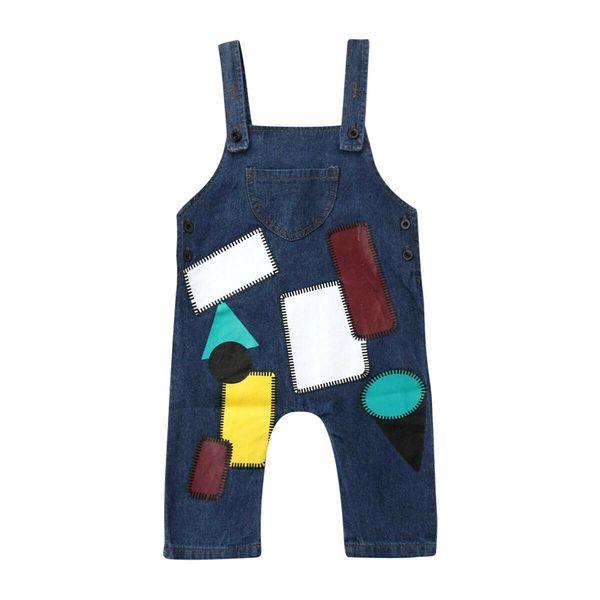 spring autumn baby boy overalls bib child denim pants infant geometric jumpsuit children's clothing romper kids girls jeans