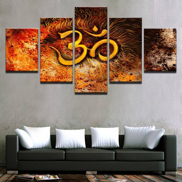 Canvas HD Prints Paintings 5 Pieces Golden Mystical OM Symbol Pictures Wall Art India Om Abstract Posters Home Decor(No Frame)