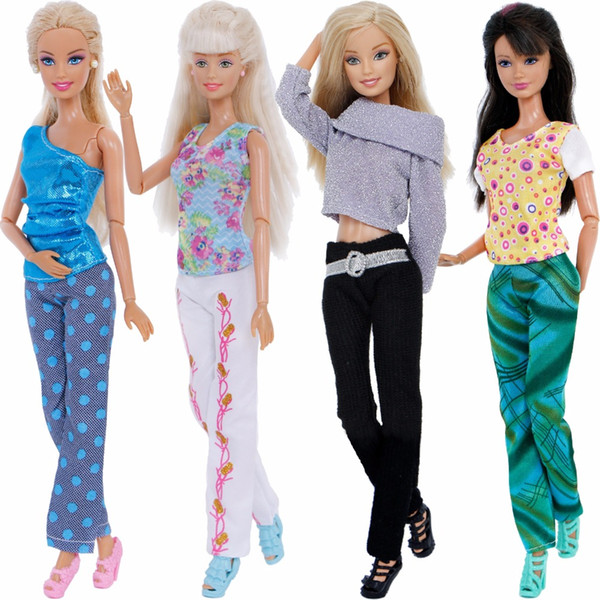 4 Pcs / Lot Fashion Mix Style Outfits Daily Casual Wear Floral Print Tops Trousers Clothes For Barbie Doll 12'' Accessories Gift