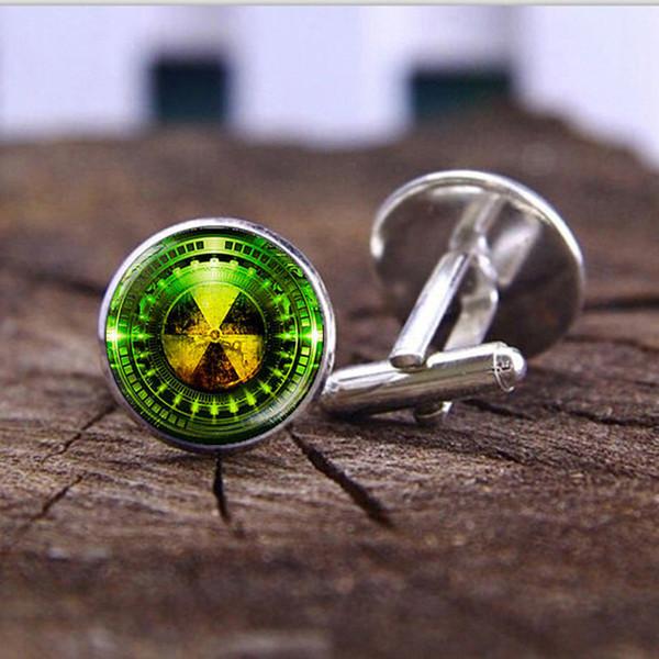 Radiation Hazard Symbol silver cufflinks high quality Fashion Jewelry Radioactive sign Glass Dome Photo Shirt Cufflinks for Mens