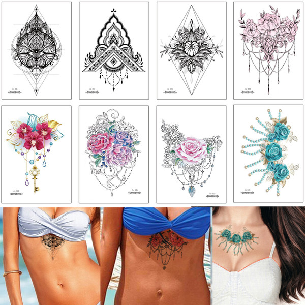 Watercolored Drawing Temporary Jewelry Tattoo for Woman Chest Neck Clavicle Waist Body Art Henna Flower Necklace Decal Tattoo Sticker Design