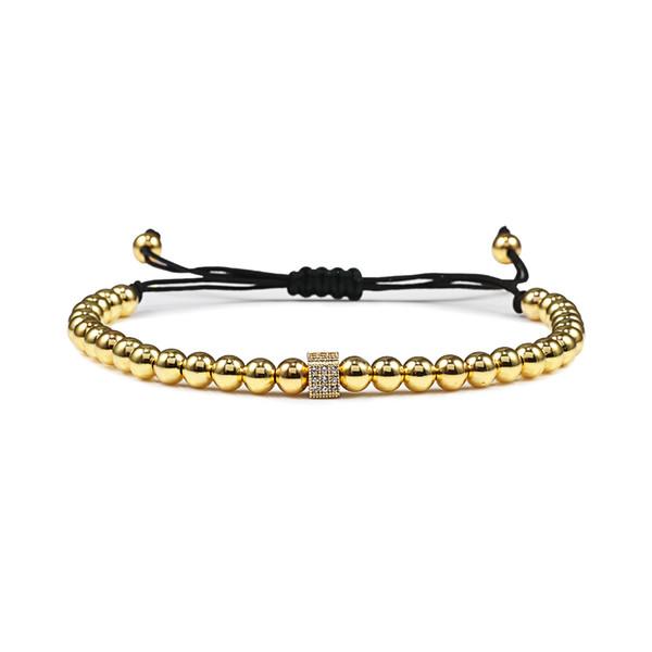 Nouveau design Cube réglable Bracelet Mens main Weave 5 mm Cuivre Perles Bangles Femmes Luxe Bijoux Homme Homme Bileklik Cadeau