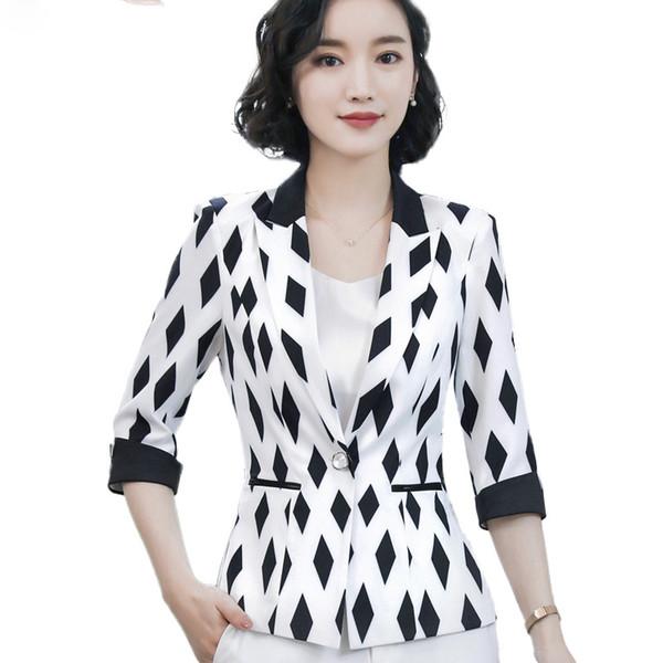 Halbe Damen Formale Schlanke Hülse Frühling Plus Größe Jacke Frauen Mantel Mode Von Sommer Blazer Büro Weiße Schwarz Großhandel Temperament txChrdsQ