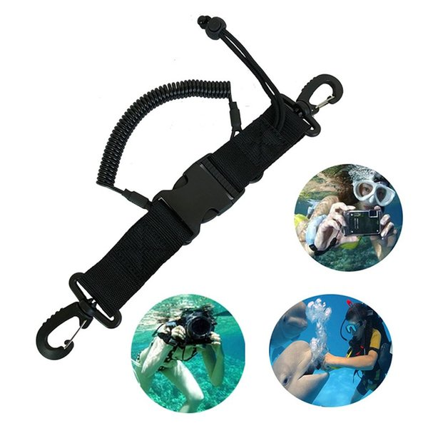 1pc Carabiner Buckle Underwater Climbing Anti-lost Rope Diving Lanyard Durable Diving Tool Spring Coil Hook Clip Camera Lanyard