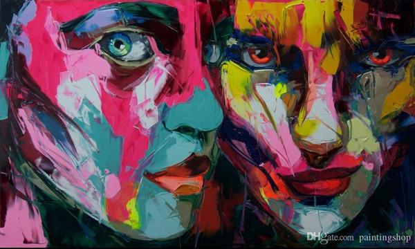 Portrait moderne 100% Pure peint à la main peinture à l'huile Francoise Nielly Palette Couteau Impression Maison Œuvres Concave et Convexe Texture Face233