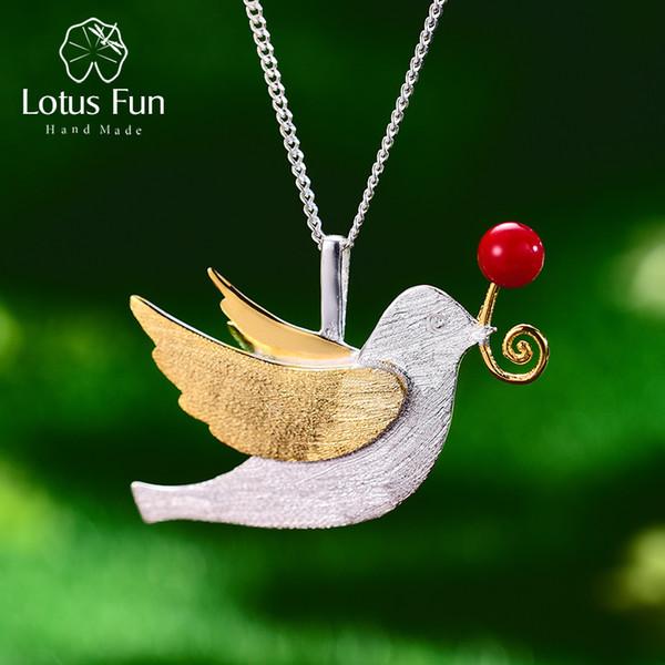 Lotus Fun Real Стерлингового Серебра 925 Ручной Работы Изящных Ювелирных Изделий Творческий Летающий Голубь С Фруктами Подвеска Без Ожерелья Для Женщин SH190715