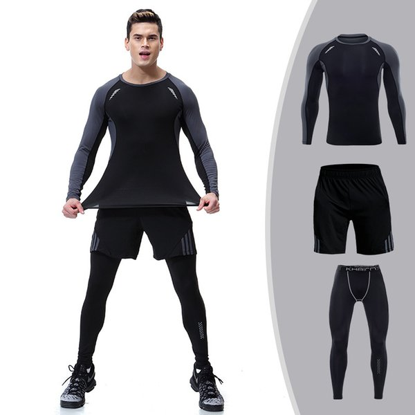 Mens Set Compression Shirt + Pants Skin Tight Long Sleeves Fitness Rashguard MMA Clothes Tracksuits 2019 Casual 3 Pieces winter