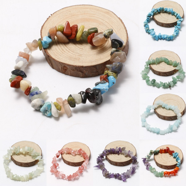 Natural Gravel Beads Bracelet Fluorite Amethyst Aquamarine 20 Kinds of Color of Natural Stones Hand Chain Irregular Gemstone Jewelry H333R