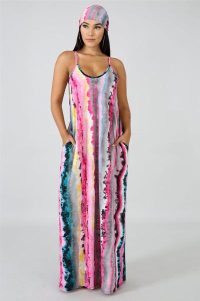 Casual Beach Maxi Dress Mujeres Sexy Criss Cross Backless Multicolor Rayas Sling Dress Para Mujeres Gradient Color Sundress NB-942