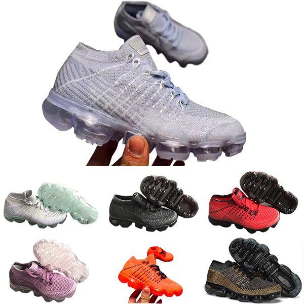 Nike air max voparmax 2018 Scarpe da corsa per bambini Sneakers triple nere per bambini Rainbow Scarpe sportive per bambini ragazze e ragazzi Scarpe da ginnastica per tennis di alta qualità