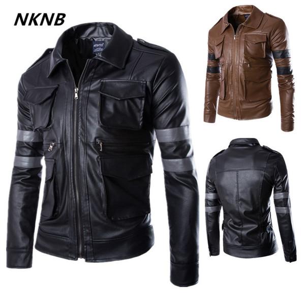 Yeni Varış Erkekler Deri Ceket Uzun Kollu PU Deri Ceket Lyon motosiklet ceketler erkekler Resident Evil ceket