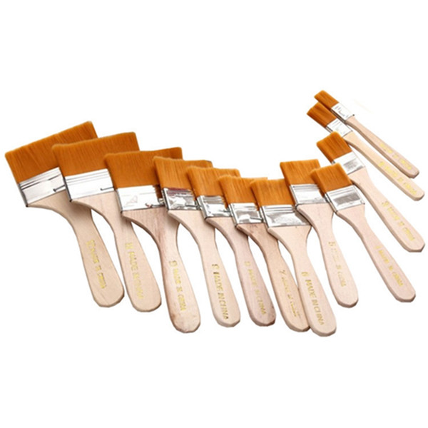 Watercolor Oil Painting Brush Reusable Barbecue Brush with Wood Handles for Children Home Tool Wall Decor 12pcs set