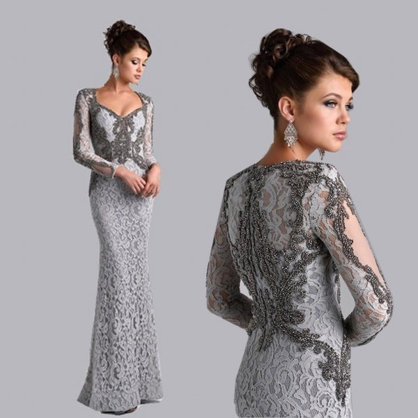 Mother Of The Bride Dresses Mermaid V-neck Long Sleeves Silver Grey Lace Beaded Mother Dresses Evening Gowns For Wedding