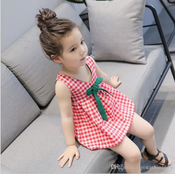 0577d7ac8 Children's wear 2019 summer Korean version of the sleeveless plaid skirt  girls bow dress cute princess