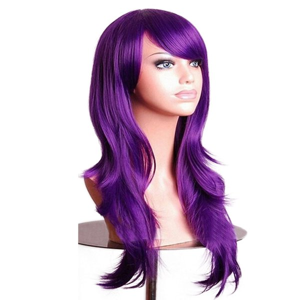 Curly Wigs Fake Hairpieces Synthetic Hair Black Pink Red Blue Cosplay Wig for Women 70cm Purple