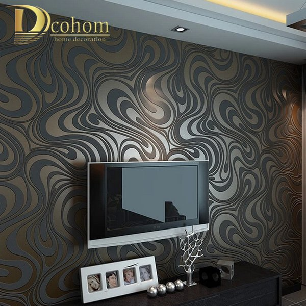 High quality 0.7m*8.4m Modern Luxury 3d wallpaper roll mural papel de parede flocking for striped wall paper 5 color R136