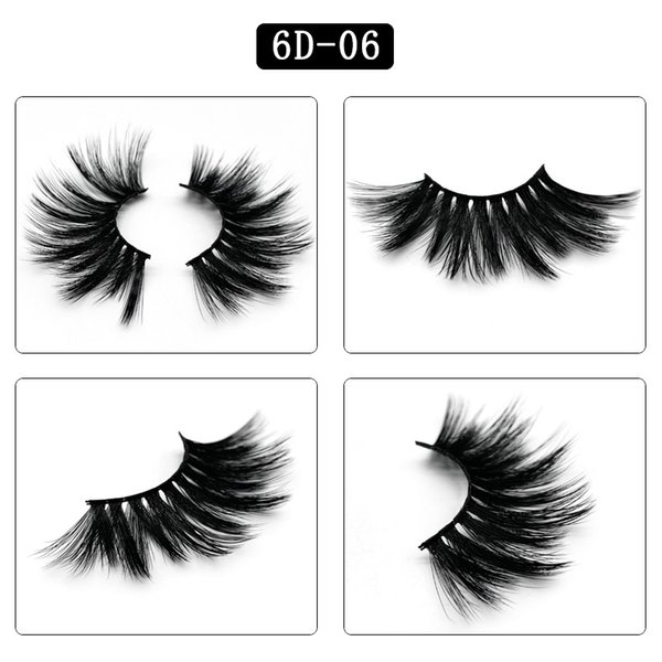 6D-06 NEW 25mm False Eyelashes 5d Mink Hair 6d Stereo Messy Thick Eyelashes Europe and The United States 10 Options 11.2*5.5*1.6cm Single