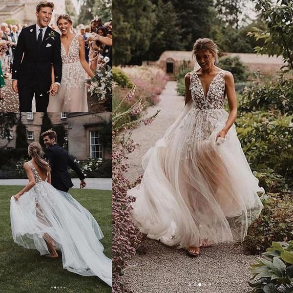 Vestidos De Noiva Romantico Liz Martinez 2020 Bohemain Vestidos De Noiva Moderna 3d Floral Lace Outdoor Campo Noiva Temple Fada Do Vestido De