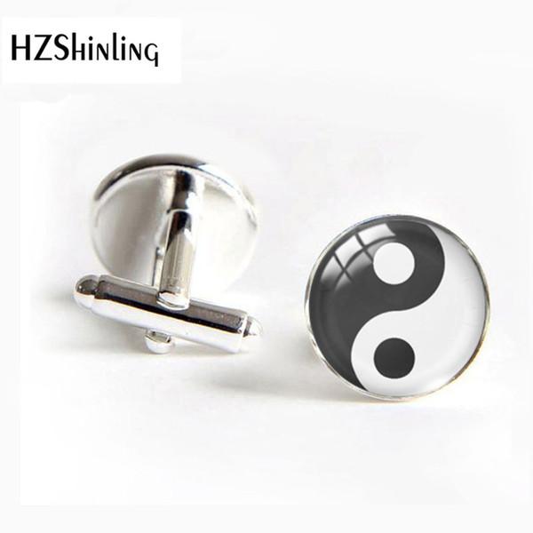 Yin Yang boutons de manchette ronds personnalité motif de dôme de verre noir et blanc YINYANG boutons de manchette polaires et polaires bijoux