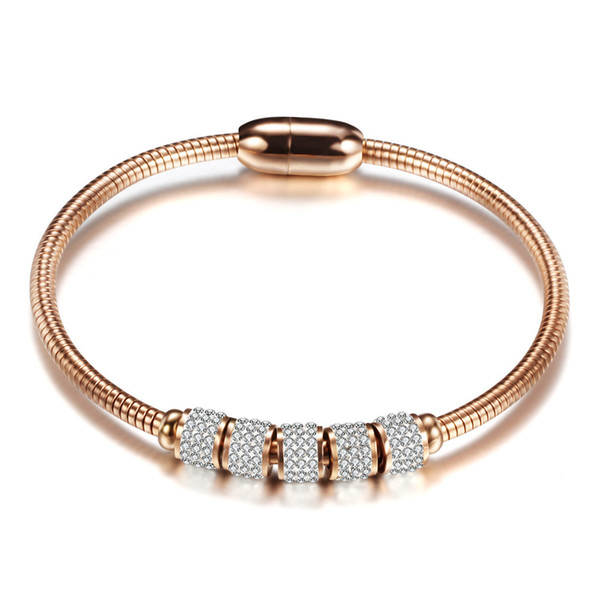 Rose Gold Rhinestone Bangles Luxury stainless steel Cuff Bracelets women jewelry pulseiras joyas de acero inoxidable para mujer