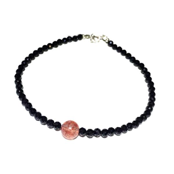 Natrual Shining Spinels 3mm Facettes Perles Strawberry Quartas Bracelet En Argent Sterling 925 Mode 7