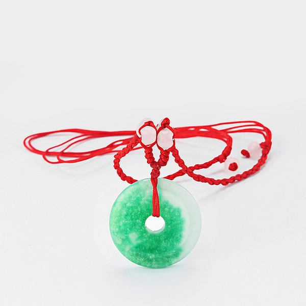10pcs Chinese Feng Shui Oriental Green Lucky Money Coin Stone Charm Pendant Bead Red Thread Necklace