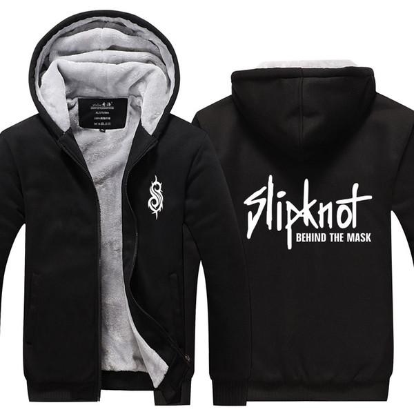 Men Casual Thicken Slipknot Heavy Metal Rock Band Sweatshirts Winter Cashmere Hoodie Zipper Jacket Leisure Sweatshirts Thicken USA EU Size