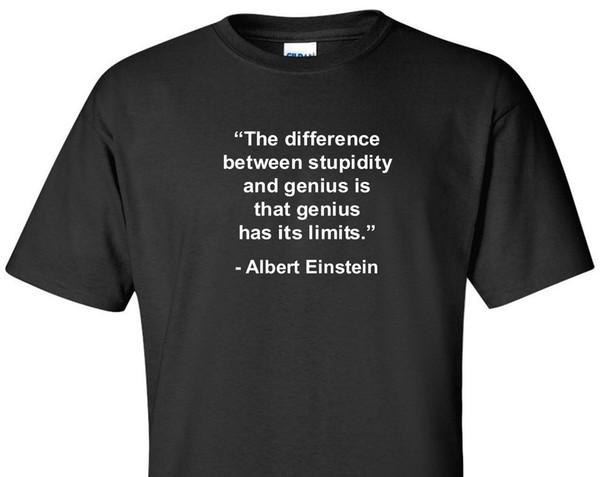 Альберт Эйнштейн футболка разница глупость гений смешно цитата черная футболка