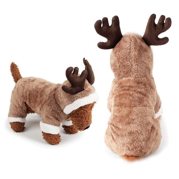 Cosplay Costume De Noël De Cerf Pour Chien Vêtements Vêtements Vêtements En Peluche Chiot Teddy De Noël Cosplay Hiver À Capuche Combinaison S-XL