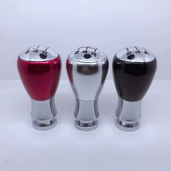 racing universal +neo chrome car gear shift knob metal shifter lever head black/silver/red