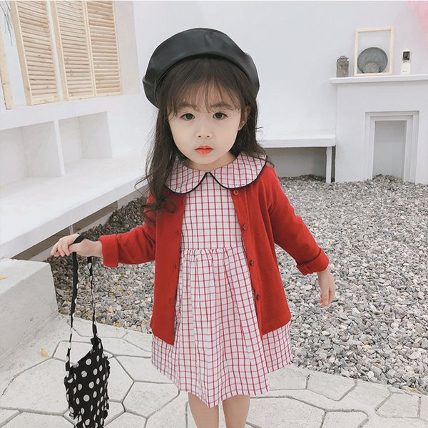 2019 Spring New Arrival korean style cotton plaid A-line all-match princess lovely long sleeve dress for cute sweet baby girls