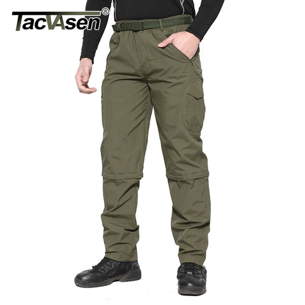 Tacvasen Nouveaux Hommes Été Militaire Séchage Rapide Printemps Camouflage Cargo Pantalon Mince Randonnée Monter Amovible Pantalon Ycxl-050-01 C19041303