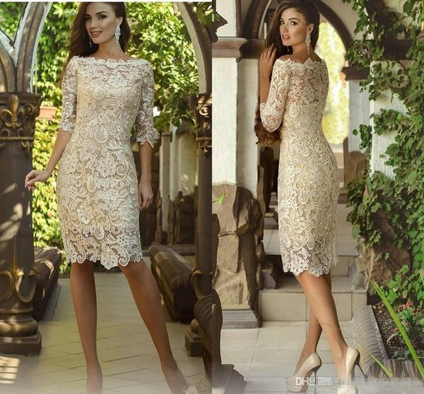 Vintage Knee Length Mother Of The Bride Groom Dresses with Long Sleeve 2019 Crochet Lace Jewel Short Wedding Guest Gown