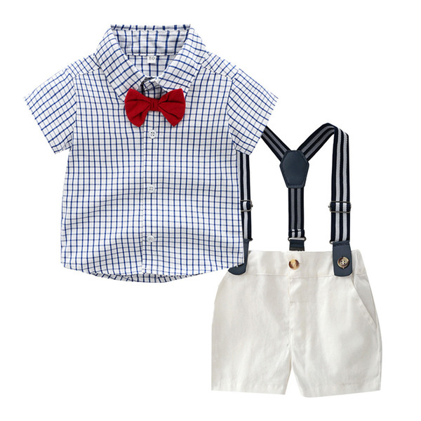 Toddler Baby Boys Gentleman Bow Tie Plaid T-Shirt Tops+Shorts Overalls Outfits roupa infantil children clothes jongens kleding