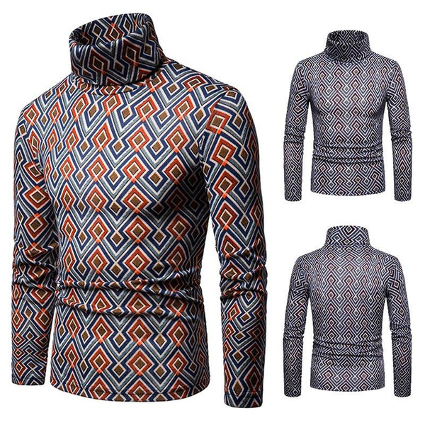 2019 HOT Men Colorful Geometric Patterns High Collar Mens Pullovers Sweaters,2 Colors Black & Orange, EU Size S~XXL