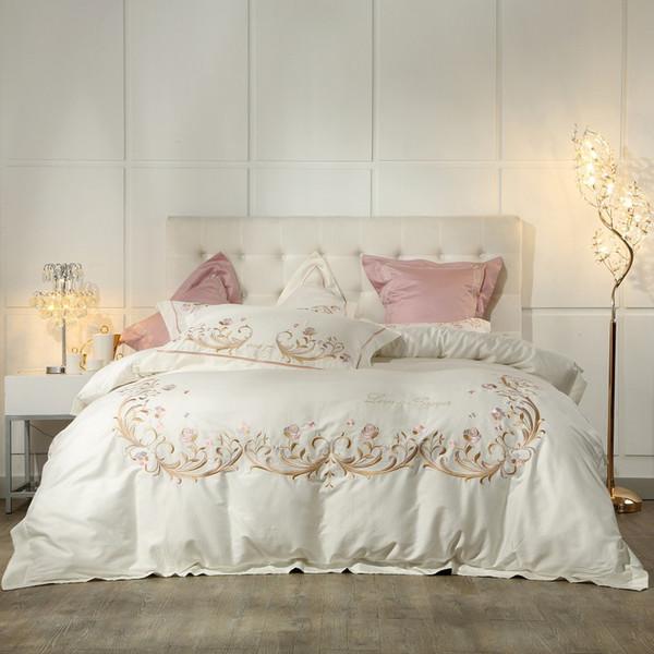 eedd9db0f6d Crema Blanco Púrpura Gris Juego de ropa de cama de algodón egipcio King  Queen Juego de